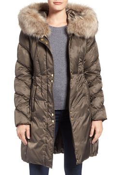 Via Spiga Via Spiga Water Repellent Quilted Puffer Coat with Faux Fur Trim available at #Nordstrom