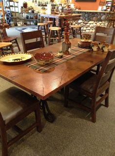 I LOVE copper table tops! We\'re adding some to our inventory this ...