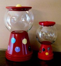 DIY candy jar using an old flower pot