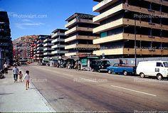Sidewalk, Cars, Van, Apartment Building, 1973, 1970's