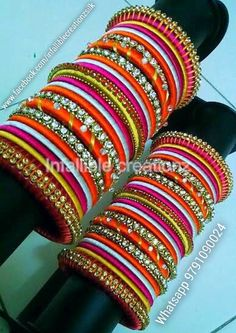 "To order Whatsapp +91 9791090024 For more collections visit ""www.facebook.com/infalliblecreationzsilk"".      Silk Thread jewelry, silk thread bangles, silk thread bridal bangles, wedding bangles, silk thread bangles wholesale, engagement bangles, Grand silk thread bangles, bangles, seemandham bangles, return gifts, party wear bangles, gifts for girls, gifts for women, party wear bangles, silk Thread jewelry, silk thread jewellery, handmade jewelry, infallible creationz, Silk Thread Bangles, Thread Jewellery, Chuda Bangles, Bridal Chura, Bridal Bangles, Bangle Set, Jewelry Patterns, Gifts For Girls, Indian Jewelry"