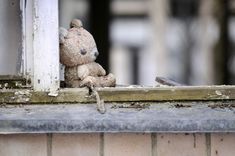 An abandoned teddy bear is a poignant memory of the effects on the city of Pripyat of the nuclear disaster at Chernobyl.