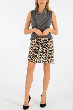 7df44c27232 DROMe New Woman Animal Print Pony Skin Leather A-Line Mini Skirt Size S  691