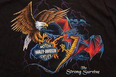 Harley Davidson Men's T Shirt The Strong Survive Eagle Dragon 2 Sided Vintage M