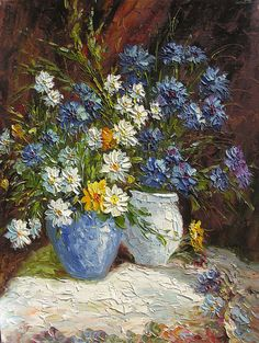 Wildflowers 18 x 24 Original Oil Painting Knife Colorful Flowers Blue White Vase Yellow Bouquet Daisies Arangement by Marchella