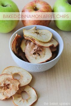 Baked cinnamon apple chips from The Baker Upstairs. These chips could not be easier, and they are sweet and tangy and delicious! A perfect fall snack.  www.thebakerupstairs.com