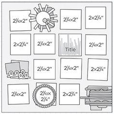 "12x12"" Scrapbook Page Sketches 121-150: Scrapbook Page Sketch 210"