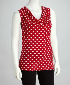 Another great find on #zulily! Red & White Polka Dot Drape Top #zulilyfinds