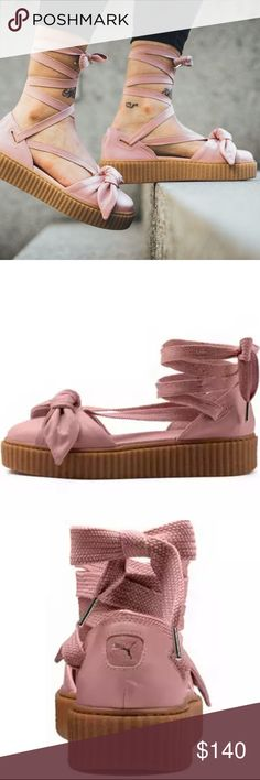 NWOB Fenty x Puma by Rihanna Bow Leather Creeper PRICE IS FIRM  Size 8 and 8.5 NWOB Fenty x Puma by Rihanna Bow Leather Creeper Sandal Silver Pink   Breeze into summer in the feminine meets trend-setting design of the Fenty X Puma Bow Creeper Sandals. Rihanna's neck-breaking line for Puma combines fashion-forward design with chic influences for unique footwear that's sure to make a statement. Lace-up these ballerina-esque kicks and elevate any outfit to style icon status. Puma Shoes Sandals