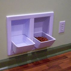"Cute Idea for ""built in"" pet food dishes"
