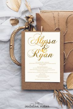 This wedding invitation has a classic, touch of gold calligraphy design. The simple yet stylish design makes this an elegant wedding invitation that is perfect for traditional weddings and luxury weddings. Traditional Weddings, Traditional Wedding Invitations, Classic Wedding Invitations, Alyssa Nicole, Invitation Maker, Gold Calligraphy, Touch Of Gold, Princess Wedding, Stationary