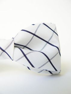 Men's Bow Tie by BartekDesign: pre tied white blue line marine grooms wedding classic retro necktie chic handmade gift for him