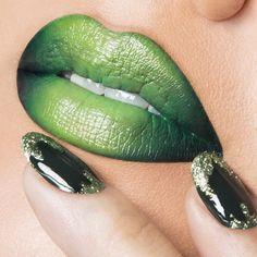 Mix of 'Traffic' & 'Vain' OCC Lip Tar. On Nails: 'Blackboard' OCC Nail Lacquer with 'Mint' OCC Glitter.