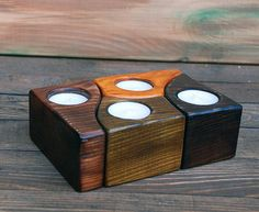 Pinewood Tea light Wooden Candle Holder/ Rustic Wood Candle Holder/ Handmade Pine wood/ 4 tealight holder/ Unique Home Decor/Three Snails