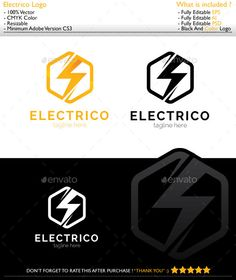 Electrico Logo — Photoshop PSD #general #business • Available here → https://graphicriver.net/item/electrico-logo/11763150?ref=pxcr