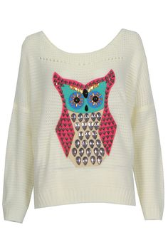 Tessa Knitted Jumper with Owl Motif In White at Pop Couture