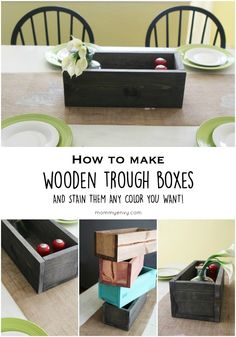 How to make stained wooden trough boxes! Easy tutorial and they only cost $5 each to make!