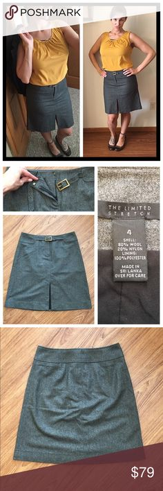 """💼 The Limited front zip/buckle stretch wool skirt 📦Same day shipping (as long as P.O. is open for business). ❤ Measurements are approximate. Descriptions are accurate to the best of my knowledge.  The unique design of the skirt is so fabulous! It has a front zipper plus closure detail with small brassy metal buckle and a chic 7"""" front slit. 3rd photo is the back of the skirt. 80% wool, 20% nylon. Lining: 100% polyester. Flat measurements: 14.5"""" across waist, 19.5"""" long. Last photo: my…"""