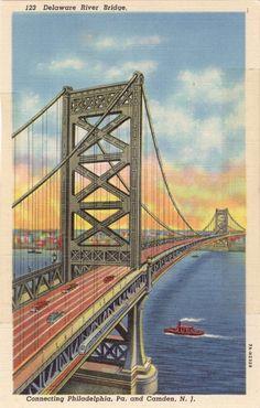 Delaware River Bridge Connecting Philadelphia, Pa. and Camden, NJ