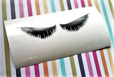 Long Lashes Decal for cups, Beauty party stickers, Eyelash Sticker, Feathered Lashes decal for Mug, Sleeping eyes by LettermixStudio on Etsy