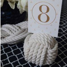 Nautical Wedding Knot White Cotton 5 Pass Monkey Fist Centerpiece Card Holder 4.5 inch