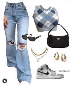 Swag Outfits For Girls, Cute Swag Outfits, Teenager Outfits, Teen Fashion Outfits, Retro Outfits, Style Fashion, Baddie Outfits Casual, Stylish Outfits, Jugend Mode Outfits
