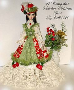 """2011 OOAK GOWN OUTFIT EVANGELINE GHASTLY """"VICTORIAN CHRISTMAS SPIRIT"""" BY COLLET-ART 