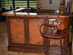 Custom Made Bar but with hammered copper