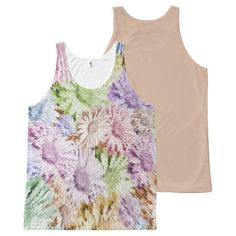 Exploding Pastel Floral Pattern Tank Top All-Over Print Tank Top Tank Tops