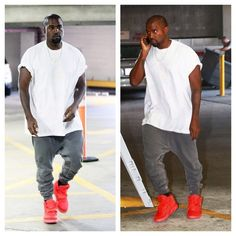 Kanye West wears Yeezus Tour Tee, Haider Ackermann Sweatpants, and Nike Air Yeezy 2 Sneakers | UpscaleHype
