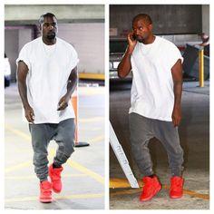 Kanye West wears Yeezus Tour Tee, Haider Ackermann Sweatpants, and Nike Air Yeezy 2 Sneakers | UpscaleHype