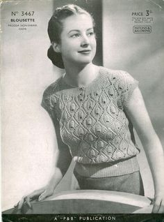 """patons3467a.jpg (444×600)Patons 3467:Great vintage knitting pattern from the 1930's for a summer top in unusual pattern to fit 34"""" bust. Tension is measured over one pattern, it is essential to work the tension square in these vintage patterns to get the correct size as wool and needles are different now, but once you know how many stitches you knit on the needles suggested in you chosen yarn, you know wether you need to add or supbract stiches or a change of needles will work."""