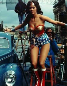 Lynda Carter as Wonder Woman...  You couldn't tell me that I wasn't Wonder Woman when I was a child!!