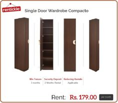 Single Door Wardrobe On Rent, Rentickle offering single door wardrobe on rent with the perfect blend of height, width and depth. Get it on rent in Gurgaon, Delhi NCR and Hyderabad in India.