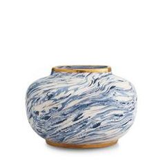 Blue Marbleized Clay Oval Vase - null Visit AERIN.com to explore the full collection.