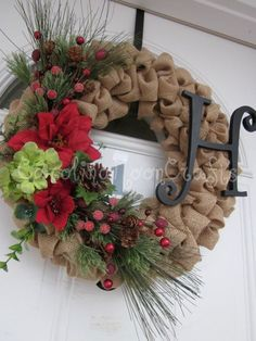 Shabby Chic Burlap Christmas Wreath Burlap   by CarolinaMoonCrafts,- really like this. Burlap wreath with initial and find a   way to change out the floral for each season!