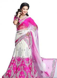 Pink & White latest Indian Punjabi A line bridal lehenga in net