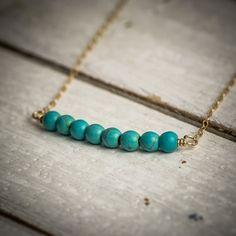 Turquoise necklace dainty necklace turquoise  bar by ByYaeli