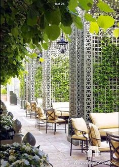 Custom decorative wood treillage with alcoves in the Winter Garden at the Ritz Hotel in Paris. Painted in custom color. Outdoor Cafe, Outdoor Restaurant, Outdoor Rooms, Outdoor Living, Outdoor Decor, Terrace Restaurant, Paris Hotels, Hotel Paris, Paris Restaurants
