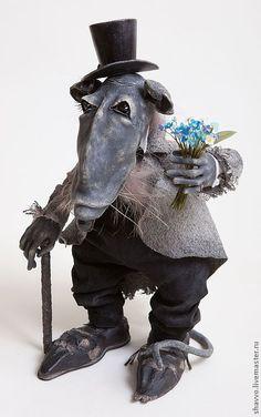 Мефодий Исаевич Шушер - серый,авторская кукла,авторская ручная работа