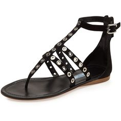 Prada Rivet Strappy Flat Thong Sandal ($730) ❤ liked on Polyvore featuring shoes, sandals, nero, flat sandals, black sandals, thong sandals, black ankle strap sandals and flat shoes