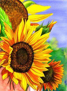 Summer Sunflowers Painting  - Summer Sunflowers Fine Art Print