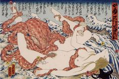 "Masami Teraoka ( born1936) ; ""Sarah and Octopus -Seventh Heaven(UKIYO-E PRINTS)…"