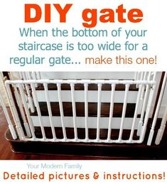 Budget-friendly DIY baby gate projects with free step by step plans & instructions ! DIY baby Gates or diy dog gate made with wood! Pvc Gate, Stair Gate, Staircase Gate, Staircase Ideas, Diy Baby Gate, Baby Gates, Dog Gates, Pvc Pipe Projects, Pallet Projects