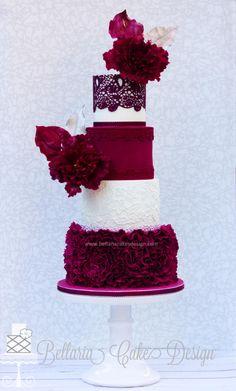 Burgundy ruffles wedding cake by Bellaria Cake Design  - http://cakesdecor.com/cakes/233091-burgundy-ruffles-wedding-cake