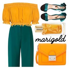 """Marigold"" by minchu ❤ liked on Polyvore featuring L.K.Bennett, Lancôme, Apiece Apart, Loeffler Randall, Christian Louboutin, yellow, GREEN, orange, teal and marigold"