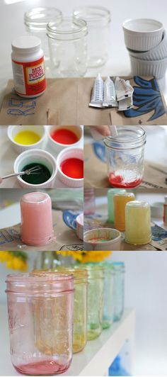DIY :: Tinted Mason Jars :: apply mixed food coloring and Gloss Mod Podge. 10 min oven bake (For decoration only, Do not use them for food  http://www.momtastic.com/diy/168908-diy-tinted-mason-jars-in-rainbow )