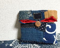 Vintage Japanese Boro Small Pouch/ Sashiko by JapaneseBOROshop Boro Stitching, Handmade Bags, Handmade Wooden, Sashiko Embroidery, Patchwork Bags, Fabric Bags, Textiles, Vintage Japanese, Kawaii