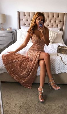 stunning rose gold sequins long prom dresses, sexy v neck mermaid party dress with split #sequins #prom #party
