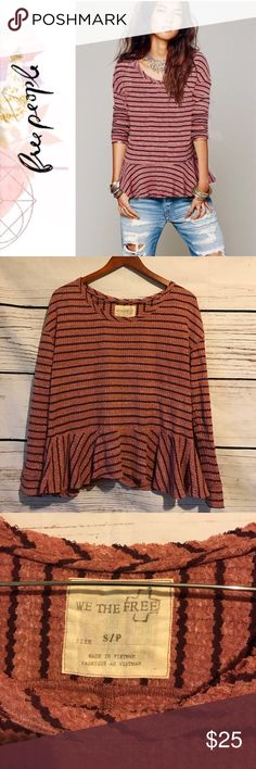 Free People WTF stripe Peplum Thermal Previously owned FP We the Free Peplum flowy oversized thermal. No rips or stains:) Free People Tops Tees - Long Sleeve